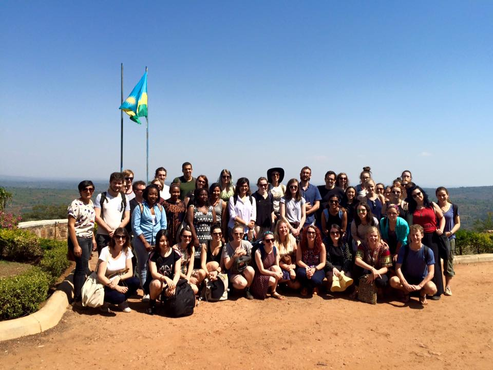 A group Monash University  student visiting Rwanda on a study tour